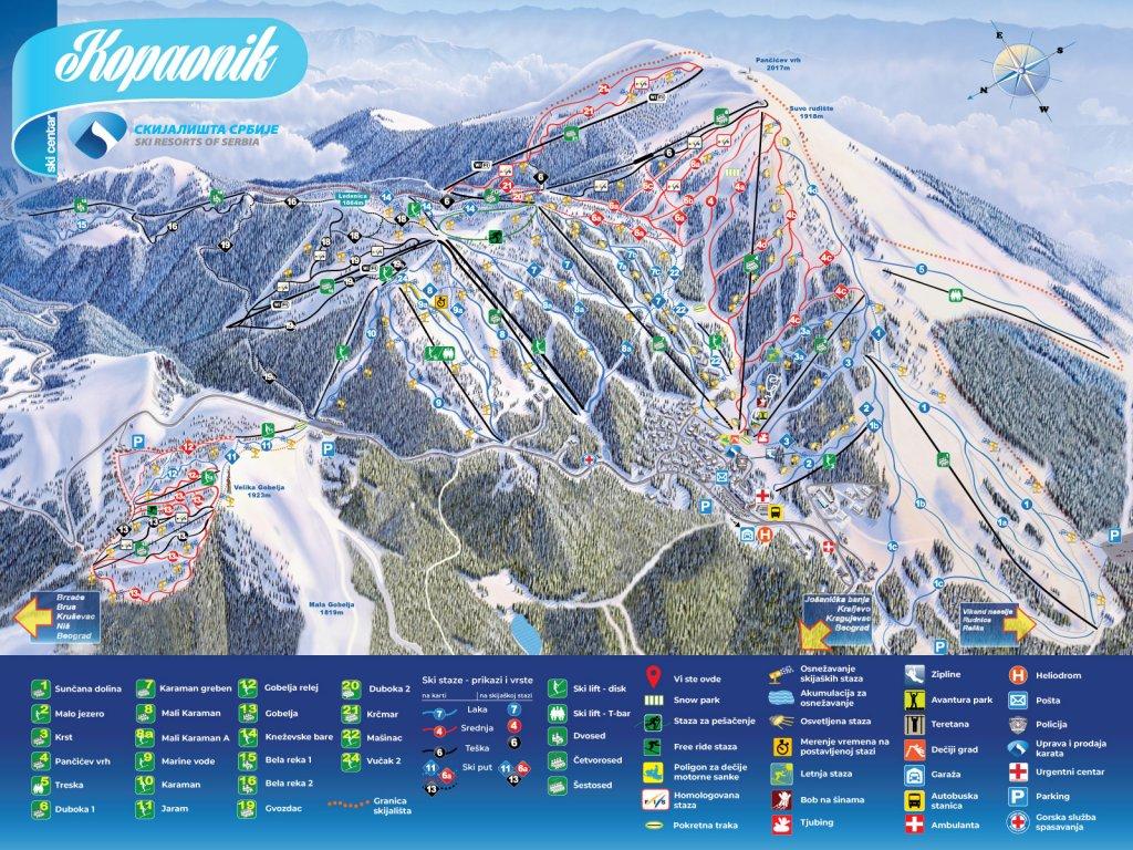 Mapa ski staza na Kopaoniku
